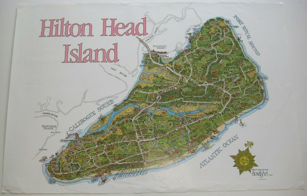 Large-format pictorial poster map of Hilton Head Island by Ralph Ballantine.