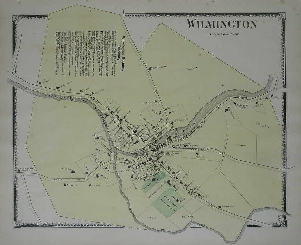 Original 1869 handcolored antique lithographed map of the village of Wilmington in Windham County, Vermont.