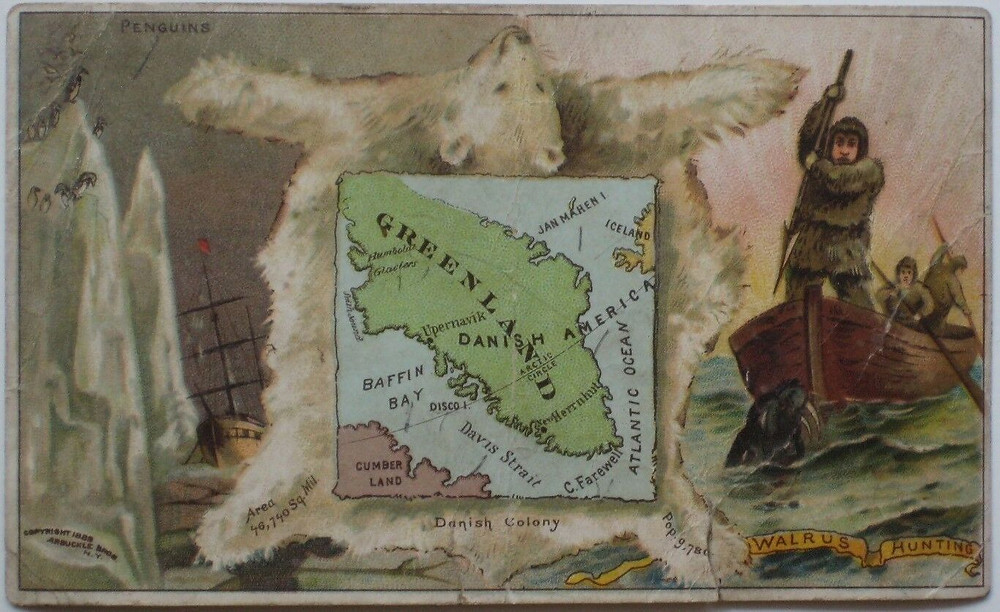 Greenland, the world's largest island, on one of history's smallest maps – an original 1889 Arbuckle Coffee Company Trading Card