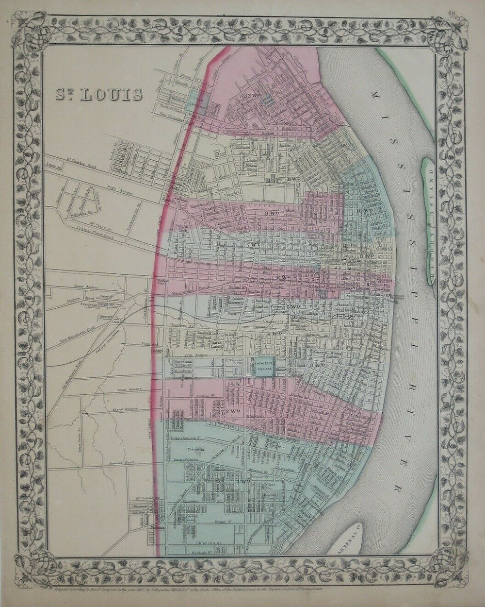 Handsome original antique lithographed 1867 street map of St. Louis, Missouri, hand-colored by ward and printed more than 150 years ago.