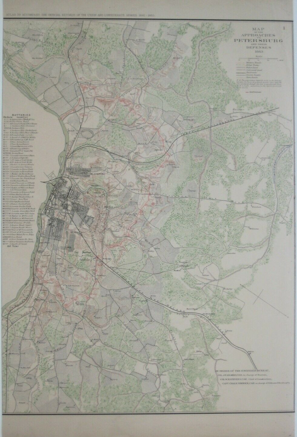 Original antique color lithographed Civil War map showing the approaches to Petersburg and the Rebel batteries comprising the Dimmock Line, printed more than 125 years ago.
