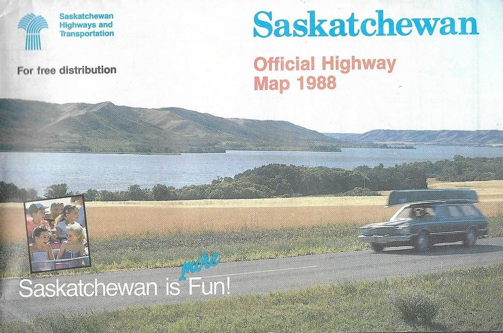 1988 SASKATCHEWAN Official Highway Road Map Regina Saskatoon Moose Jaw Canada