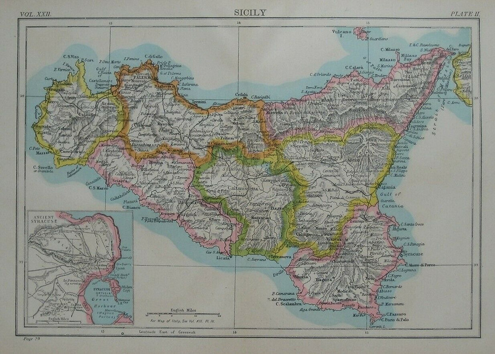 Original 1887 map of Sicily, off the southern tip of Italy. It shows Mount Etna, Messina, Palermo, Catania, Marsala, and Ragusa