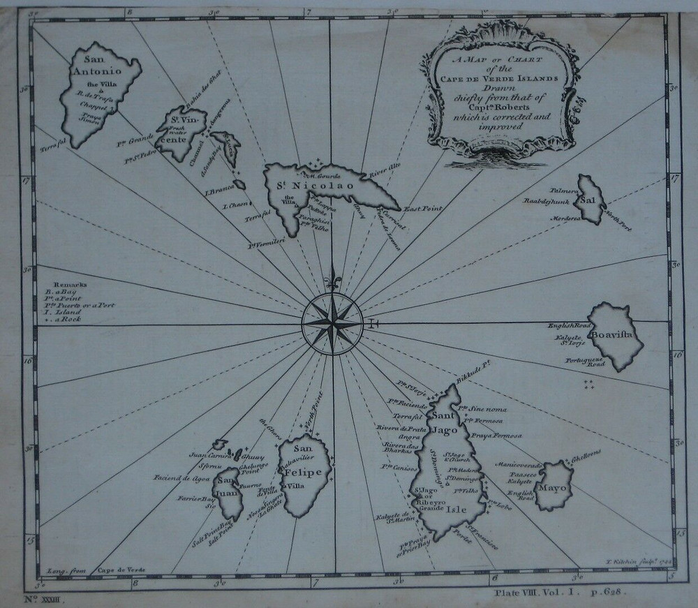 Original 1744 Thomas Kitchin map of the Cape Verde Islands, with a distinctive compass rose