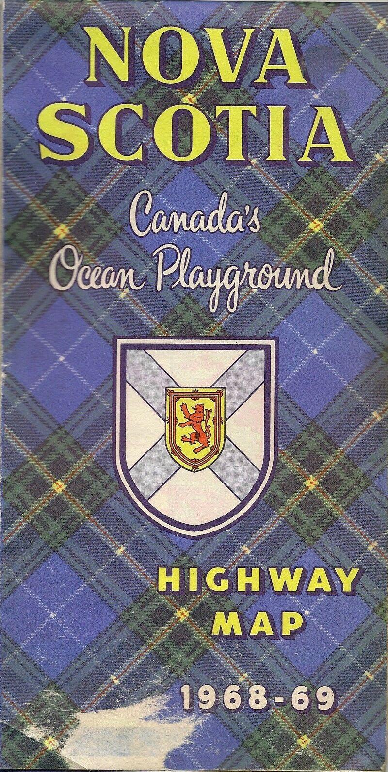 1968 Official Highway Road Map NOVA SCOTIA Canada Sydney Halifax Dartmouth