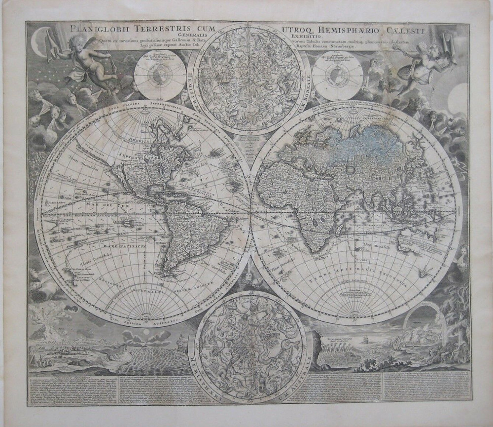 Scarce first edition of Homann's highly decorative double-hemisphere map of the World, showing California as an island and richly embellished with Celestial models of the northern and southern hemispheres.