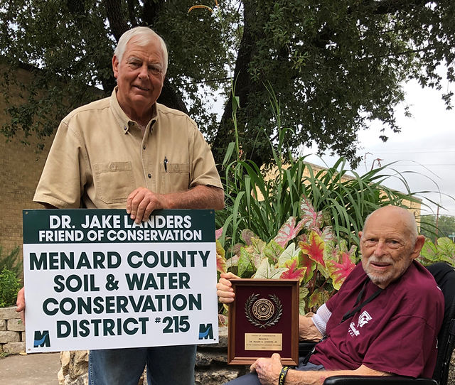 Dr Jake Landers receives Menard County SWCD's 2020 Friend of Conservation Award