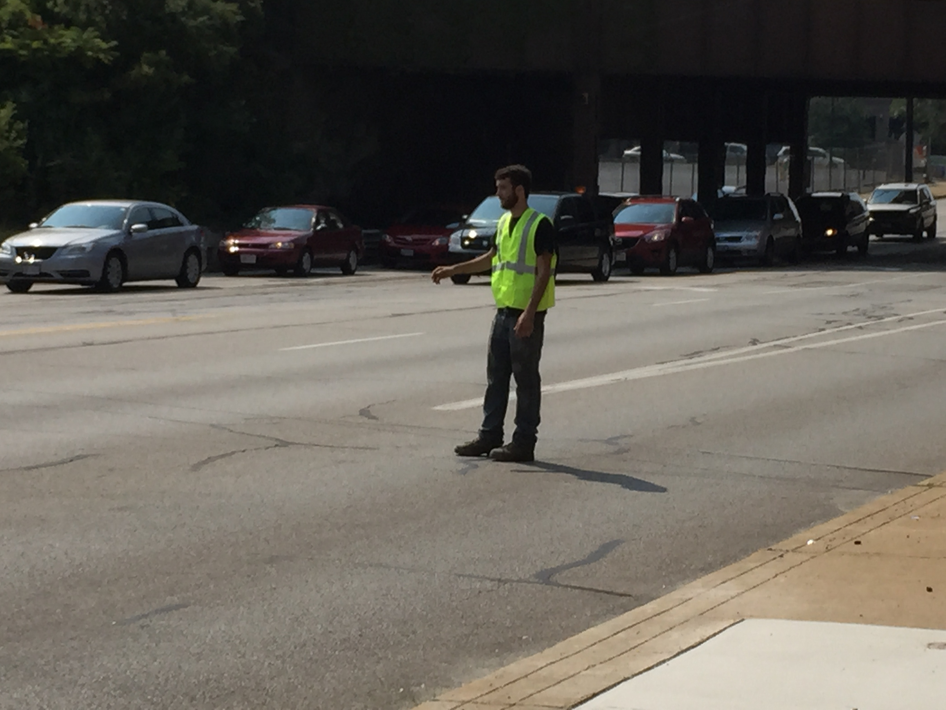Andrew directing traffic on Carnegie