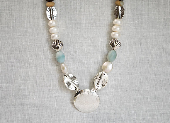 Amazonite Aqua Marine and Pearl Dome Necklace