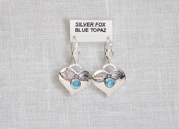 See-Thru Blue Topaz Heart Sterling Silver Gemstone Earrings