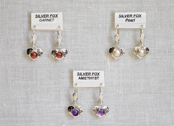 See-Thru Hearts Sterling Silver Gemstone Earrings