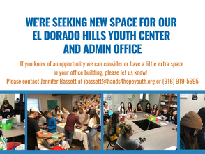 Hands4Hope - Youth Making A Difference Seeking New Space For El Dorado Hills Youth Center and Admin