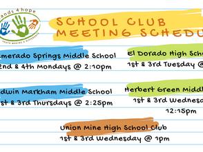 Hands4Hope School Club Meeting Schedules/links