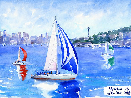 Lake Union Racing - canvas print