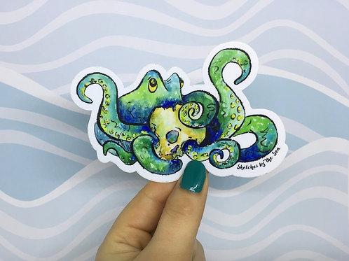 Octopus and Skull Sticker