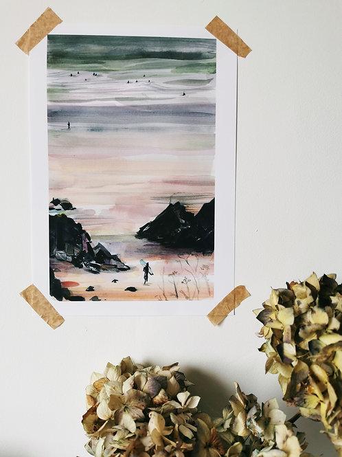 'Hiding Around the Corner' Putsborough Beach Print