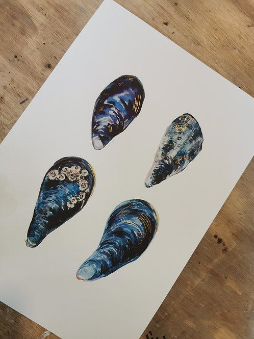 Hand Foiled Mussell Print