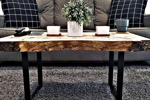 Curly Maple Coffee Table With Industrial Iron Legs