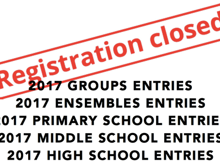 BPAC 2017 GROUPS/ENSEMBLES & SCHOOLS SECTIONS ARE FULL!
