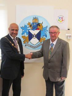 Mayor of Havering collecting his artwork from our artist Colin