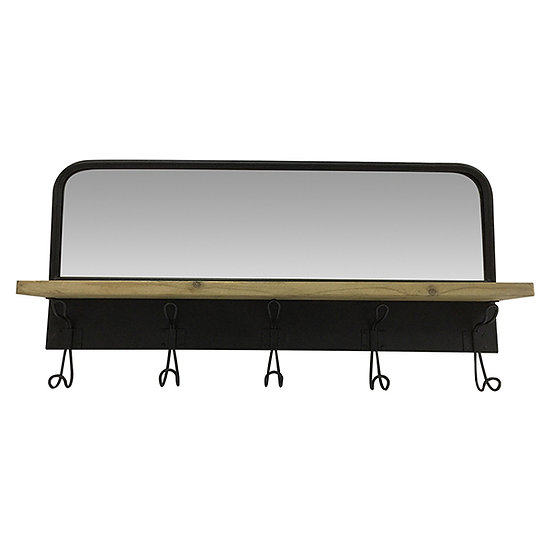 Timber Shelf with Metal Hooks