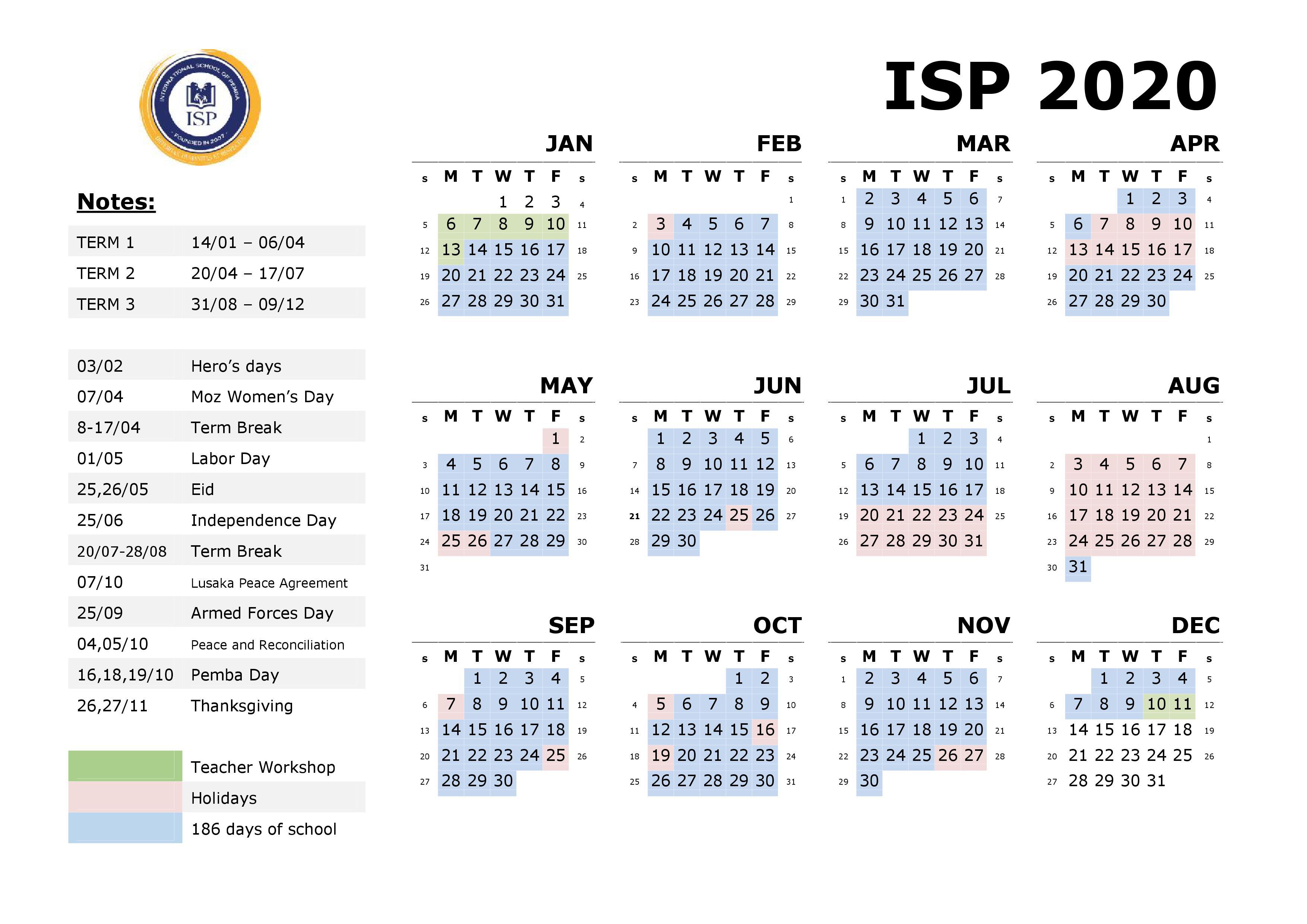 ISP Calendar 2020 update