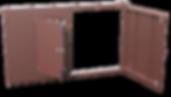 Распашные гаражные ворота с калиткой, с окрасом