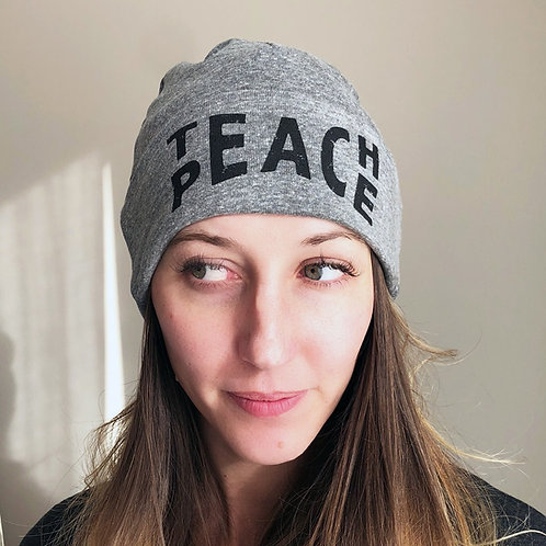 """TEACH PEACE"" Knit Beanie"