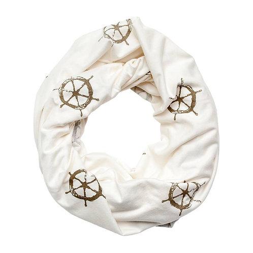 Ivory Ships Wheel Infinity Scarf