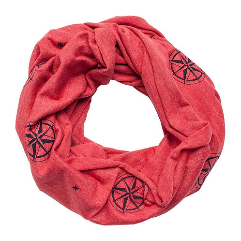 Red Compass Rose Infinity Scarf