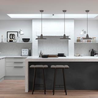 Cosdon - Matt Light Grey & Black Steel