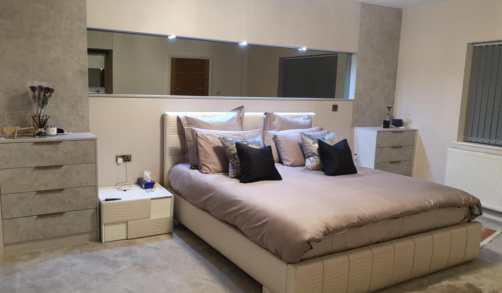 Modern BedroomWith Full Backboard