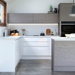 Cosdon - Gloss White and Concrete