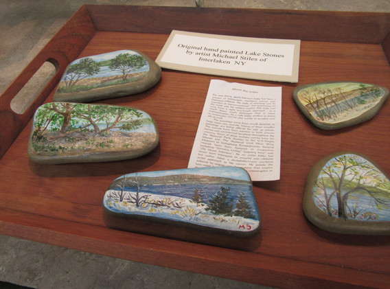 Selection of painted rocks.