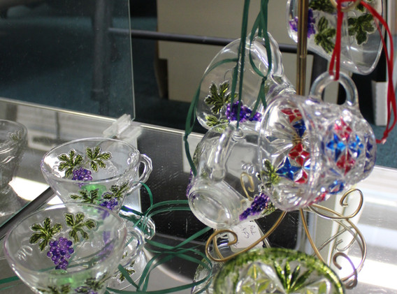Painted glass teacups.
