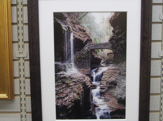 Framed photo of Watkins Glen State Park waterfalls.