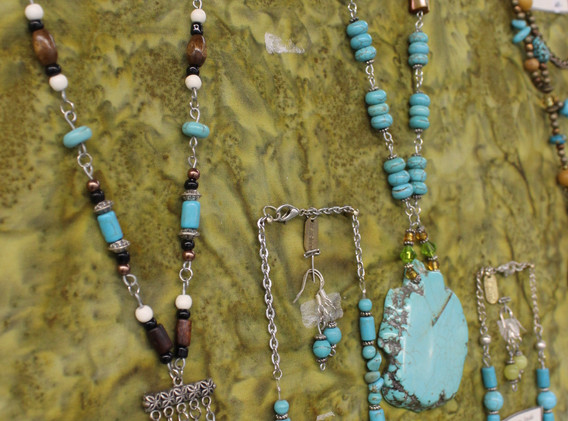 Beaded necklaces.