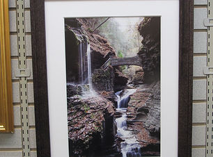 Framed photo of Watkins Glen State Park water falls.