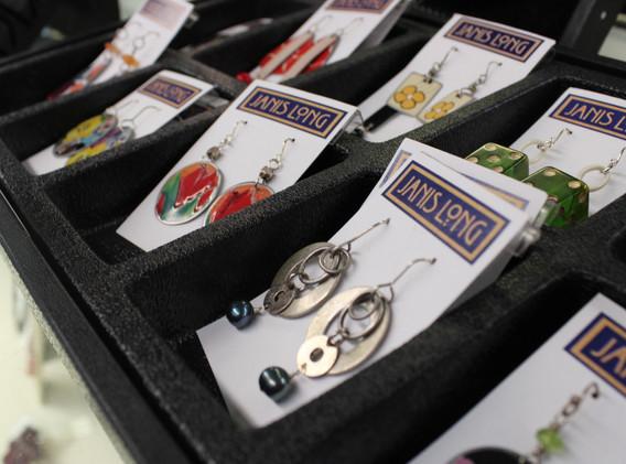 Colorful metal dangle earrings.
