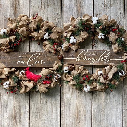 Silent Night Farmhouse Burlap Double Door Wreaths
