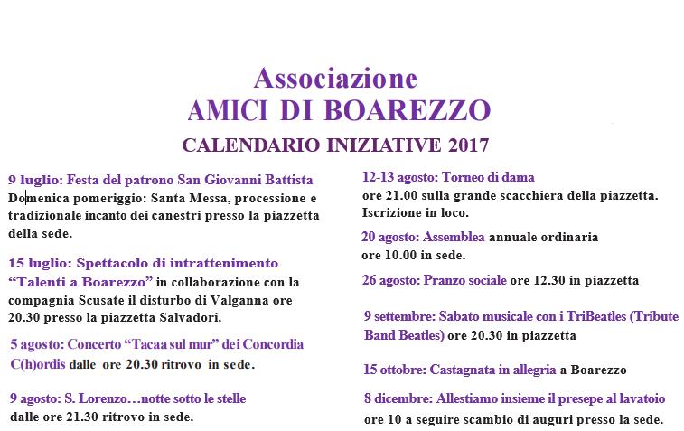 Iniziative Boarezzo eventi valganna