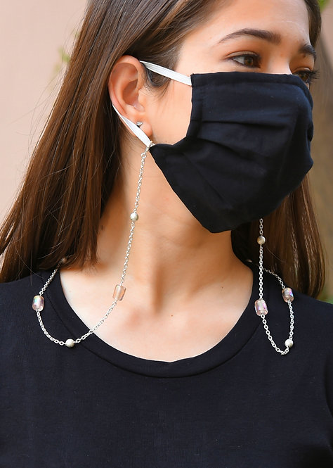 FOREVER Peach, Silver Sparkle Balls Necklace/Mask/Eyeglass Chain