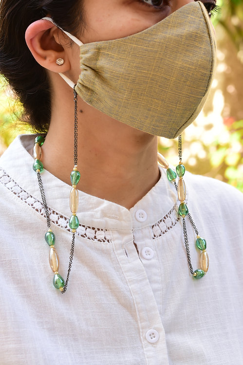 COSMO Mask/Eyeglass Chain with Lustre Gold & Green Beads