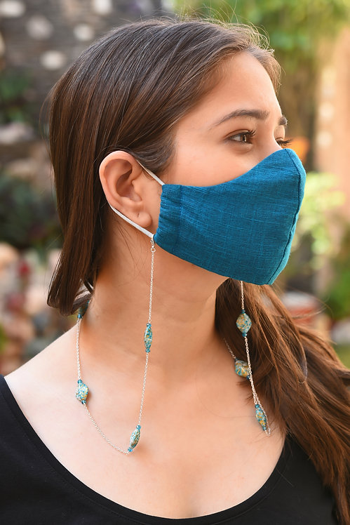 PAINT Blue, Crystal Blue Beads Necklace/ Mask Chain/Eyeglass Chain