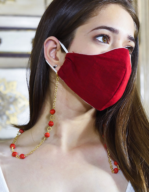 TWIST Coral Glass Mask/Eyeglass Chain in Gold Tone