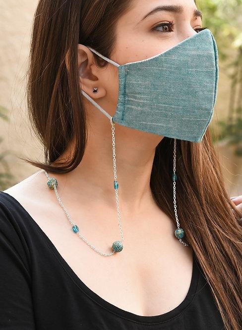 PAINT Blue Mask/Eyeglass Chain with Aqua Glass Beads