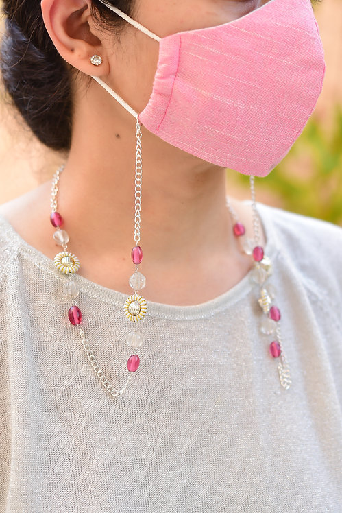 Mask/Eyeglass Chain with Clear Melon & Pink Beads