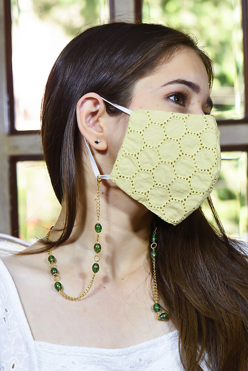TWIST Lustre Green Beads Mask/Eyeglass Chain in Gold Tone