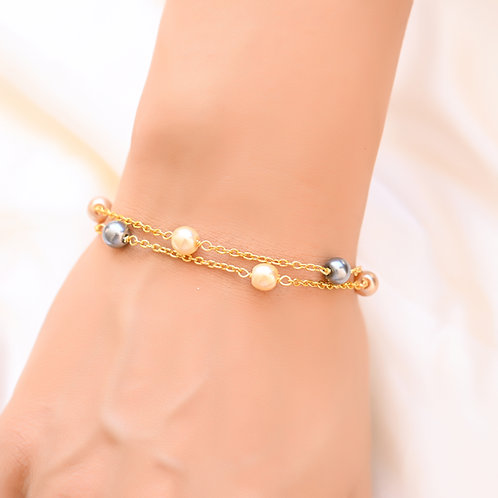 6mm DUO  Multi Pearl Gold Chain  Bracelet