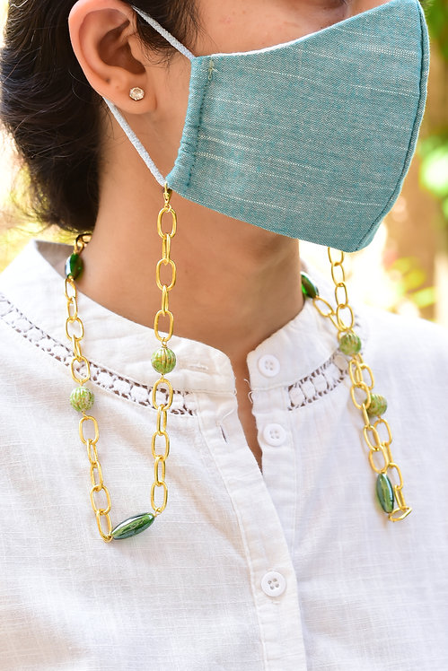DAPPER Mask/Eyeglass chain with  Painted Melon & Green Beads